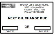 Oil Change Sticker System
